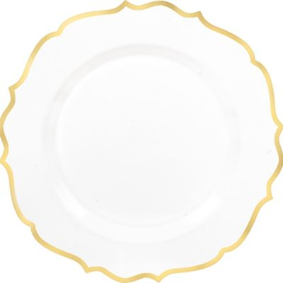 10 1/2in Plastic Plates | SKU 756939  sc 1 st  Party City & White Gold-Trimmed Ornate Premium Plastic Dinner Plates 10ct | Party ...