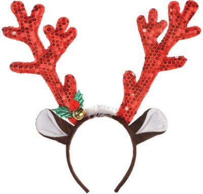 Girls Red Headband Gold Glittery Glitter Reindeer Antlers Christmas Deer Ears