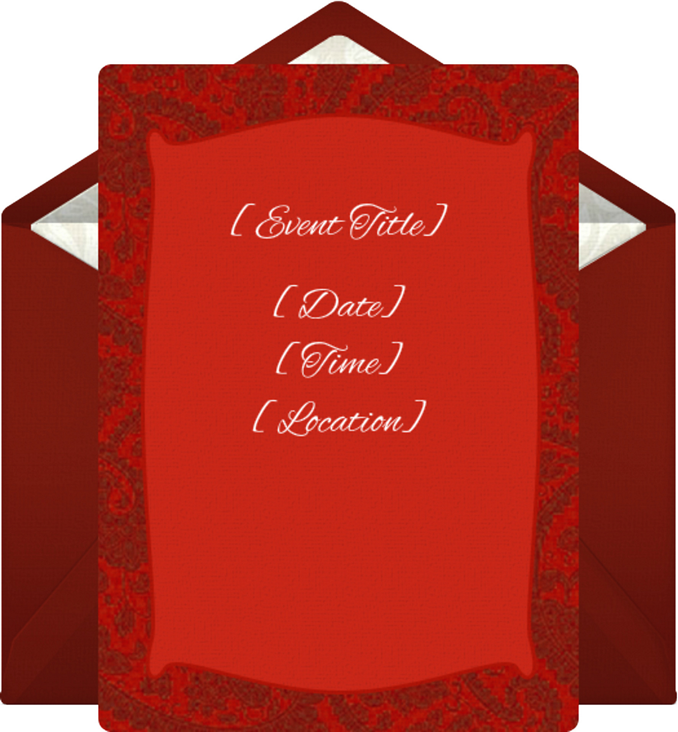 Online Red Flower Border Invitations - Electronic Invitations ...