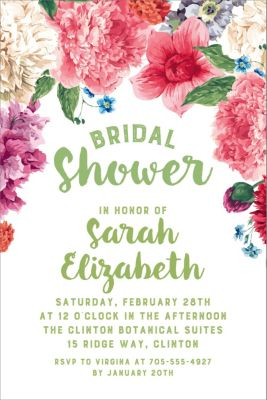 Custom Floral Border Bridal Shower Invitations