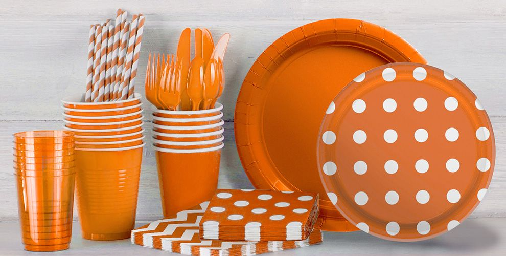 Patterned Tableware 50% off MSRP — Orange Polka Dot Party Supplies