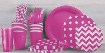... Patterned Tableware 50% off MSRP u2014 Bright Pink Polka Dot Party Supplies ... & Bright Pink Polka Dot u0026 Chevron Tableware | Party City