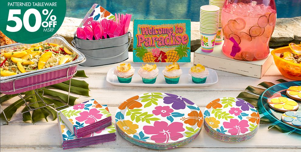 Hibiscus White Party Supplies – Patterned Tableware 50% off MSRP