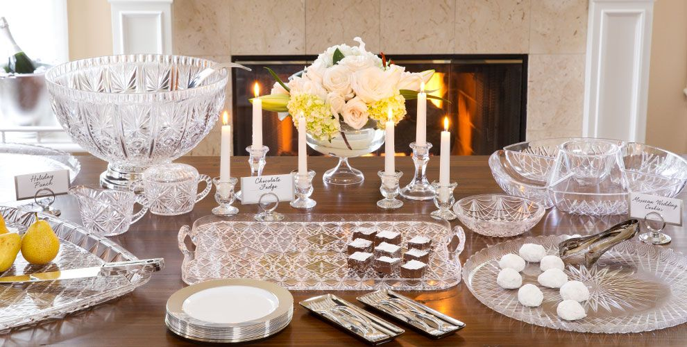 Crystal Cut Serving Trays, Bowls & Utensils