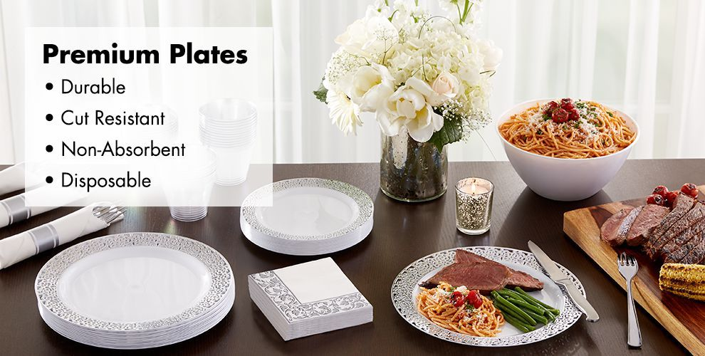White Silver Premium Tableware — Durable, Cut Resistant, Non-Absorbent, & Disposable