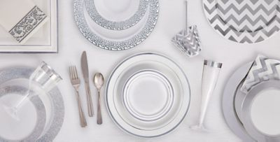 White Silver Premium Tableware ...  sc 1 st  Party City & White Silver Premium Tableware - Silver Trim Premium Plastic ...