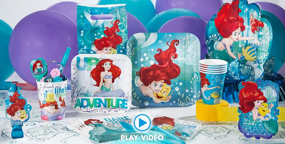 Little mermaid party supplies little mermaid birthday party city little mermaid party supplies 50 off patterned tableware filmwisefo