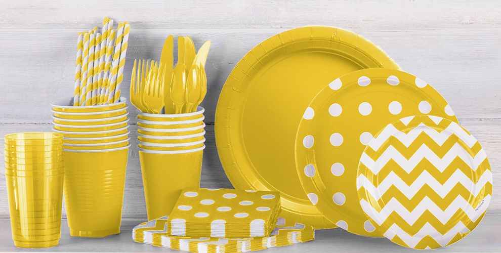 Patterned Tableware 50% Off MSR — Sunshine Yellow Polka Dot Party Supplies