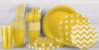 ... Patterned Tableware 50% Off MSR u2014 Sunshine Yellow Polka Dot Party Supplies & Sunshine Yellow Polka Dot u0026 Chevron Tableware | Party City