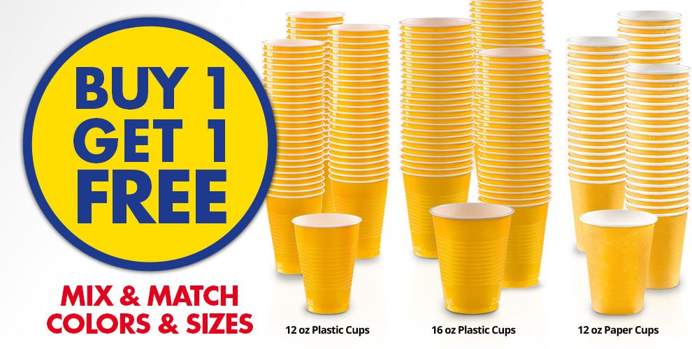 Buy 1 Get 1 Free – Mix & Match Colors &amp Sizes — Sunshine Yellow Tableware
