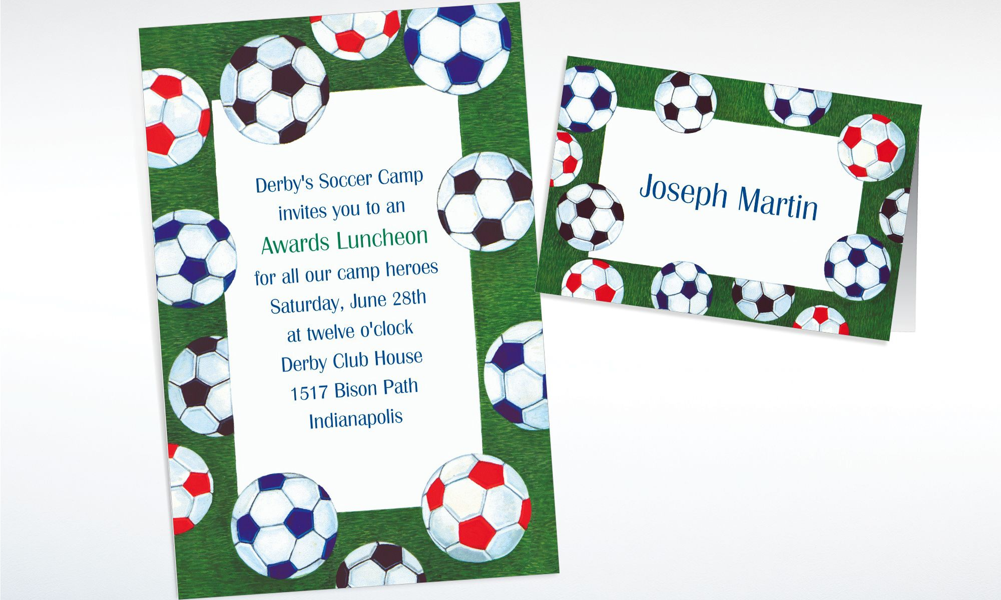 Custom Soccer Ball Border Invitations & Thank You Notes