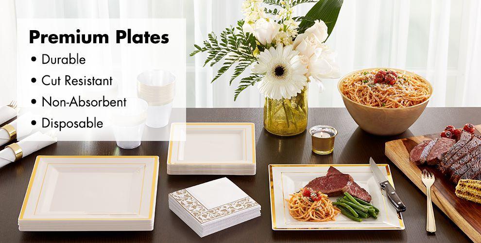 Cream Gold Premium Tableware — Durable, Cut Resistant, Non-Absorbent, & Disposable