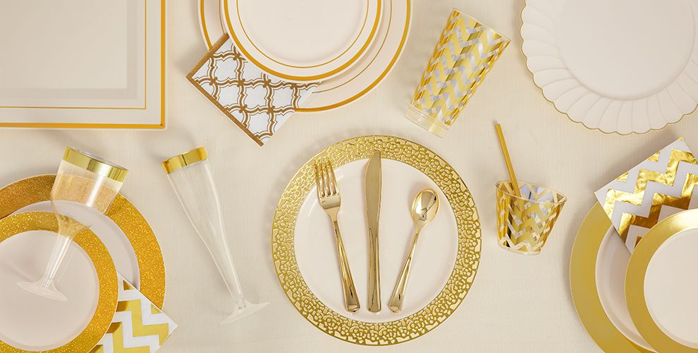 cream gold premium tableware gold trim premium plastic