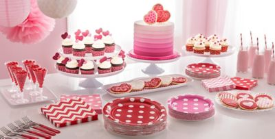 ... Patterned Tableware 50% off MSRP u2014 Bright Pink Polka Dot Party Supplies & Bright Pink Polka Dot u0026 Chevron Tableware | Party City