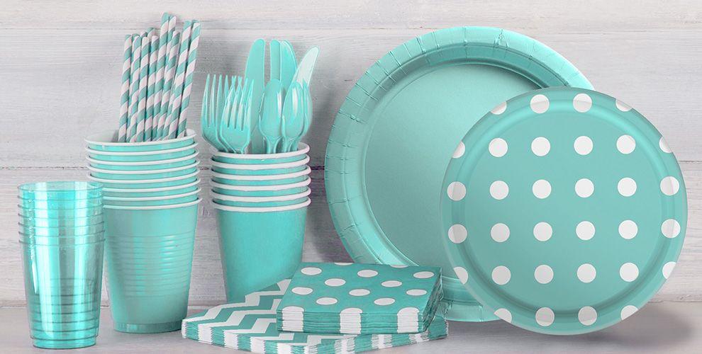 Patterned Tableware 50% off MSR — Robin's Egg Blue Polka Dot Party Supplies