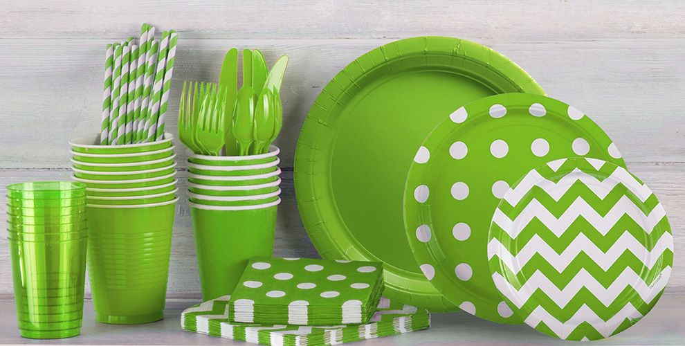 Patterned Tableware 50% Off MSRP — Kiwi Green Polka Dot Party Supplies