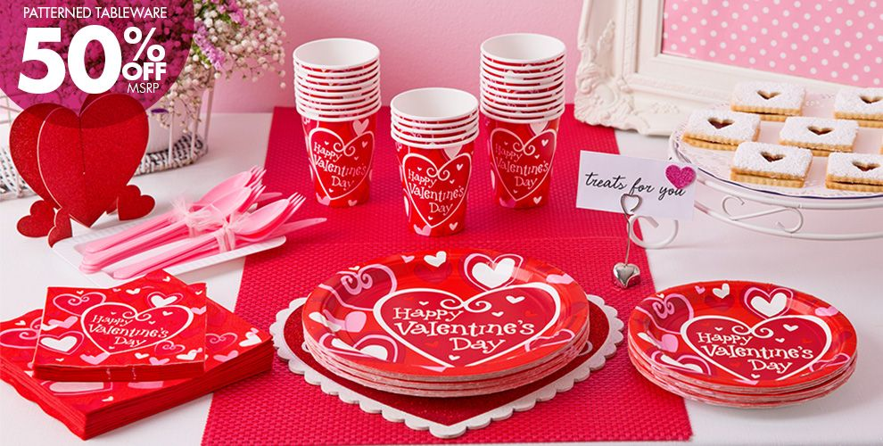 Be Mine Valentine's Day Party Supplies 50% off Patterned Tableware MSRP