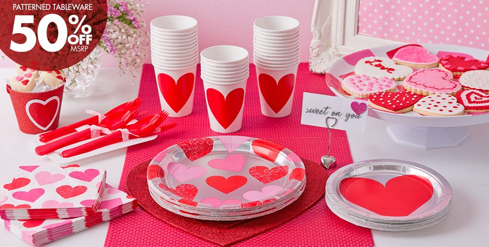 Key To Your Heart Valentine's Day Party Supplies 50% off Patterned Tableware MSRP