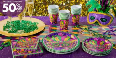 Masquerade Mardi Gras Party Supplies - 50% off Patterned Tableware MSRP & Masquerade Mardi Gras Party Supplies | Party City Canada