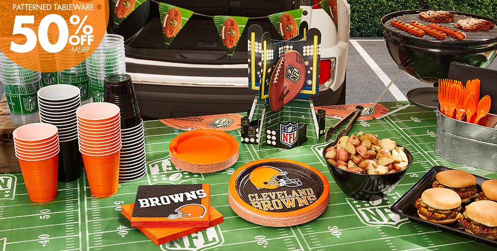 NFL Cleveland Browns Party Supplies - 50% Off Patterned Tableware MSRP