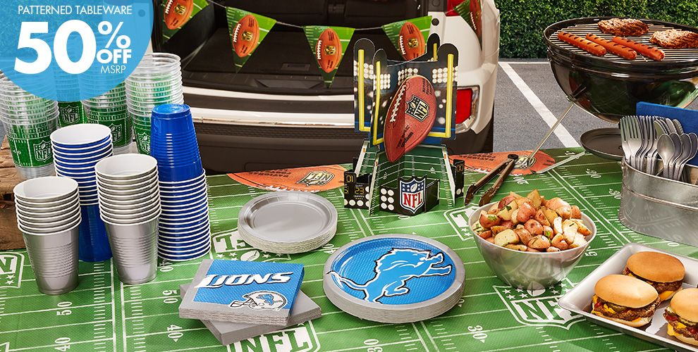 NFL Detroit Lions Party Supplies - 50% Off Patterned Tableware MSRP