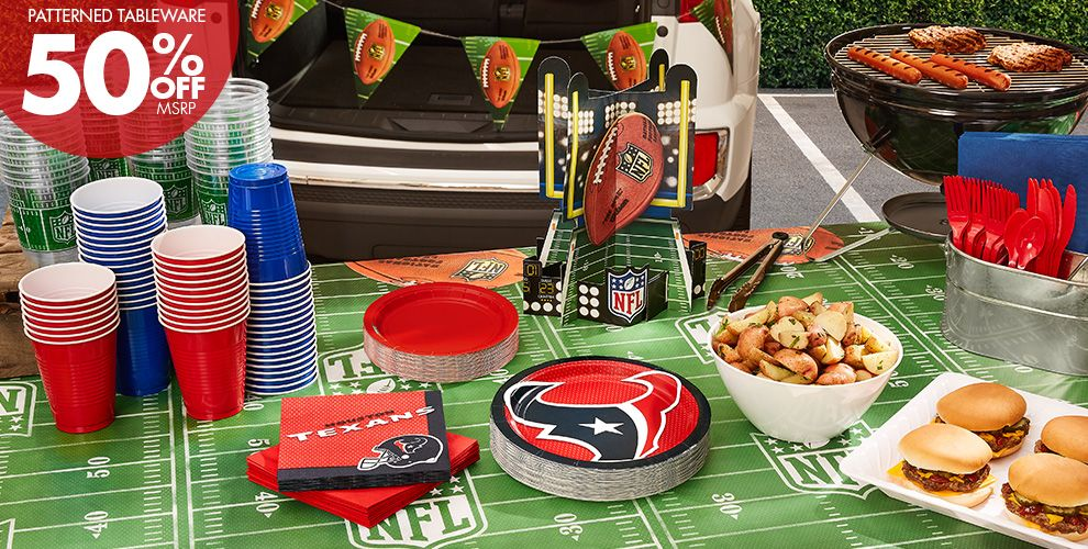 NFL Houston Texans Party Supplies - 50% Off Patterned Tableware MSRP