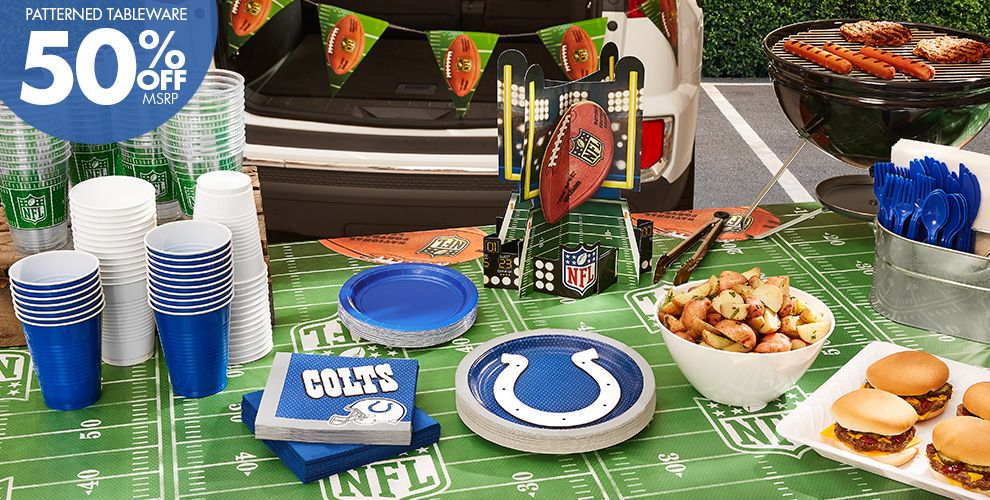 NFL Indianapolis Colts Party Supplies - 50% Off Patterned Tableware MSRP