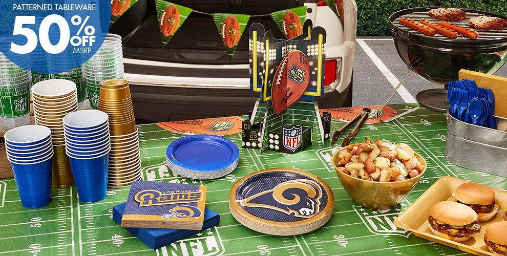 NFL Los Angeles Rams Party Supplies - 50% Off Patterned Tableware MSRP