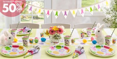 Eggstravaganza Easter Party Supplies 50% off Patterned Tableware MSRP & Eggstravaganza Easter Party Supplies | Party City