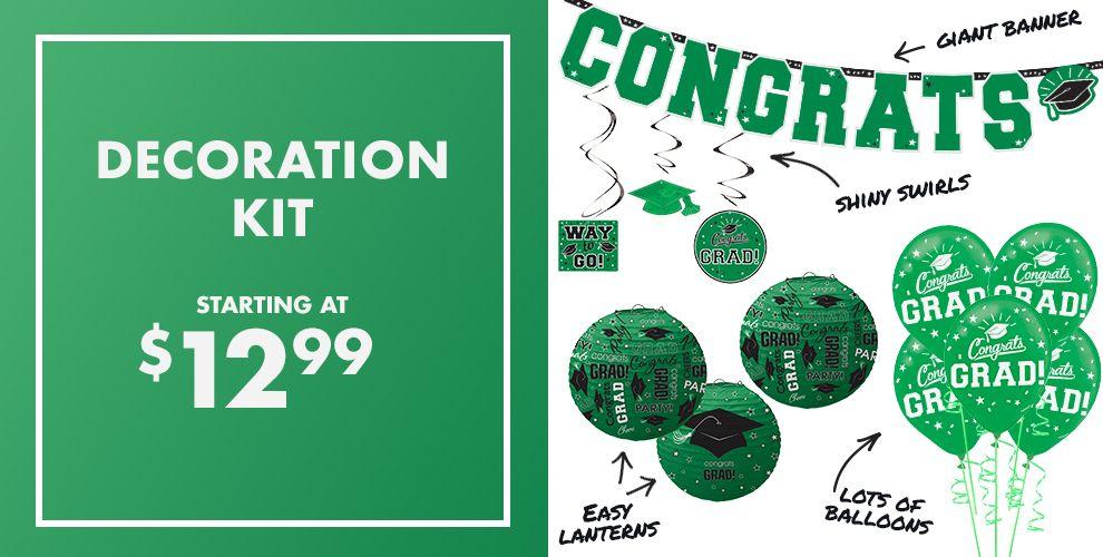 Congrats Grad Green Graduation Party Supplies — Congrats Grad 2017