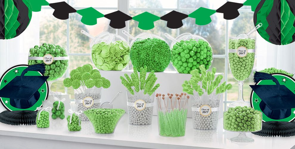 Congrats Grad Green Graduation Party Supplies — Congrats Grad 2017