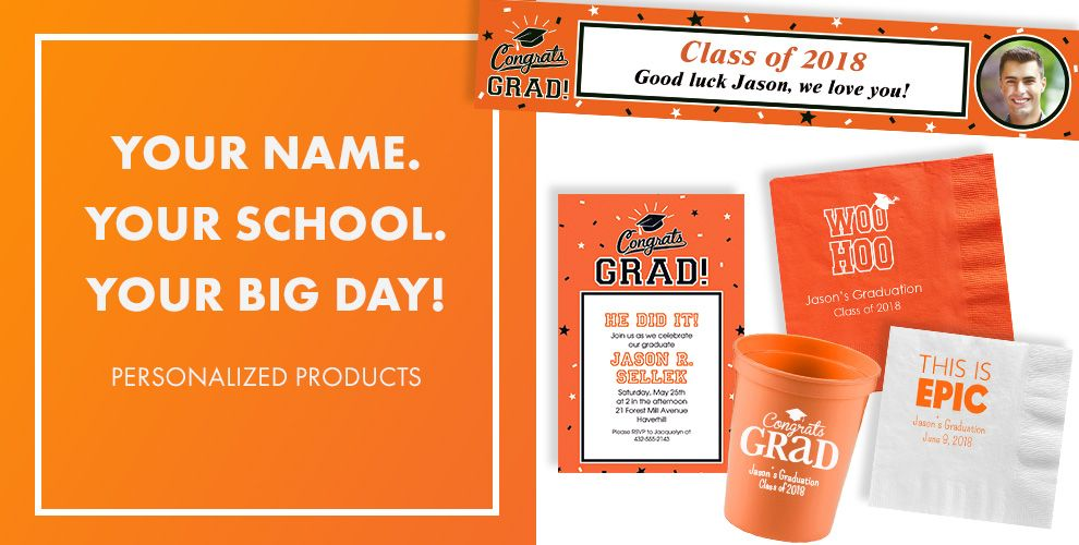 Congrats Grad Orange Graduation Party Supplies