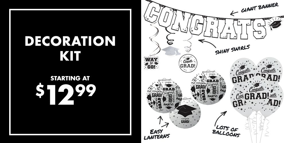 White Graduation Party Supplies — Congrats Grad 2017