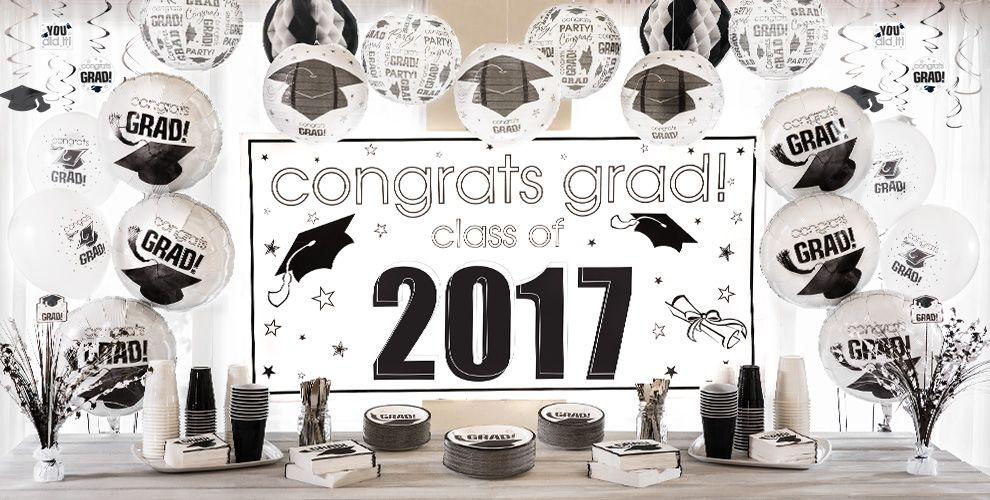 White Graduation Party Supplies — Congrats Grad 2017