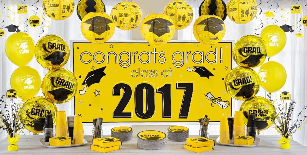 Congrats Grad Yellow Graduation Party Supplies