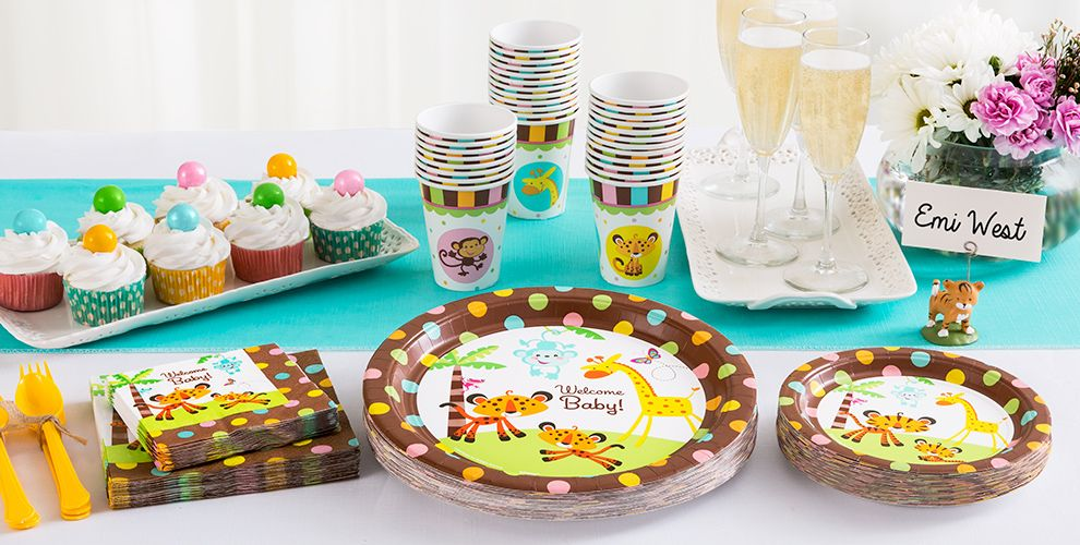 Patterned Tableware 50% off MSRP — Fisher-Price Jungle Baby Shower Party Supplies