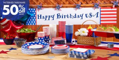 Patterned Tableware 50% Off MSRP u2014 Red White u0026 Blue Stars Patriotic Party Suplies & Red White and Blue Stars Party Supplies | Party City