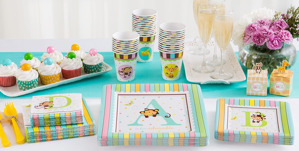 Patterned Tableware 50% off MSRP — Fisher-Price ABC Baby Shower Party Supplies