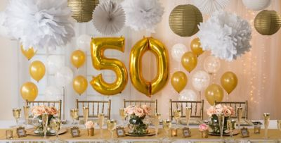 ... Gold Anniversary u2013 50% off Patterned Tableware ... & Golden 50th Wedding Anniversary Party Supplies - 50th Anniversary ...
