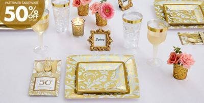 Gold Anniversary \u2013 50% off Patterned Tableware ... & Golden 50th Wedding Anniversary Party Supplies - 50th Anniversary ...