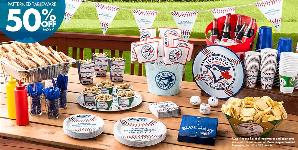 Patterned Tableware 50% off MSRP — MLB Toronto Blue Jays Party Supplies