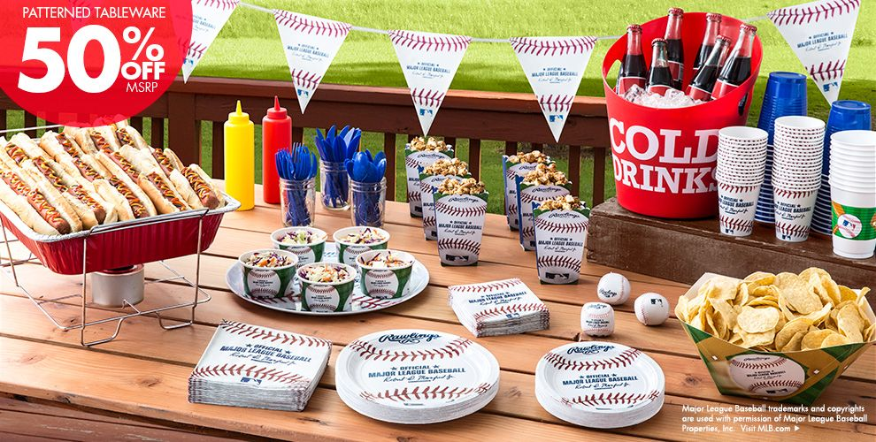 MLB Rawlings Baseball Party Supplies 50% off Patterned Tableware MSRP