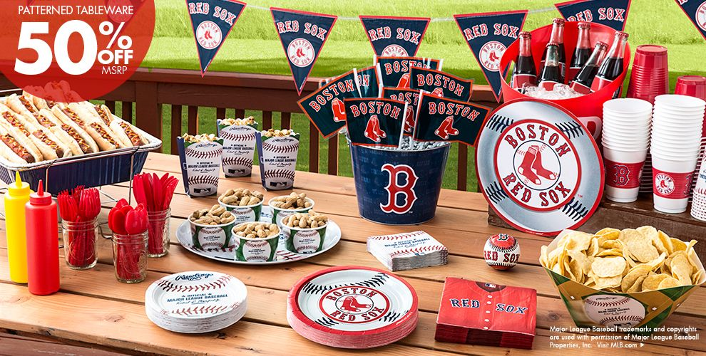 MLB Boston Red Sox Party Supplies 50% off Patterned Tableware MSRP
