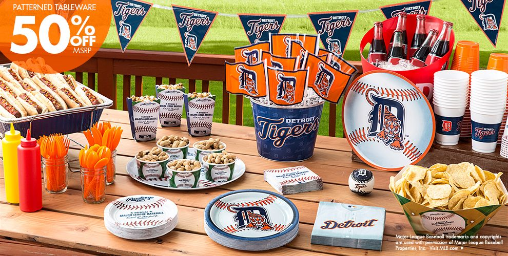 MLB Detroit Tigers Party Supplies 50% off Patterned Tableware MSRP