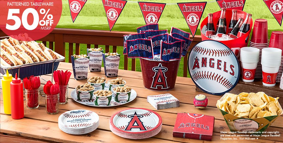 MLB Los Angeles Angels Party Supplies 50% off Patterned Tableware MSRP