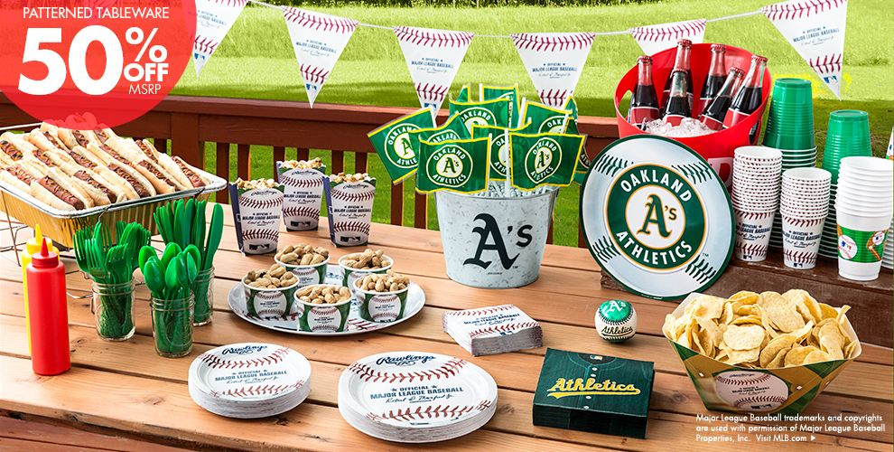 Patterned Tableware 50% off MSRP — MLB Oakland Athletics Party Supplies