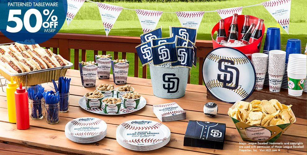 Patterned Tableware 50% off MSRP — MLB San Diego Padres Party Supplies