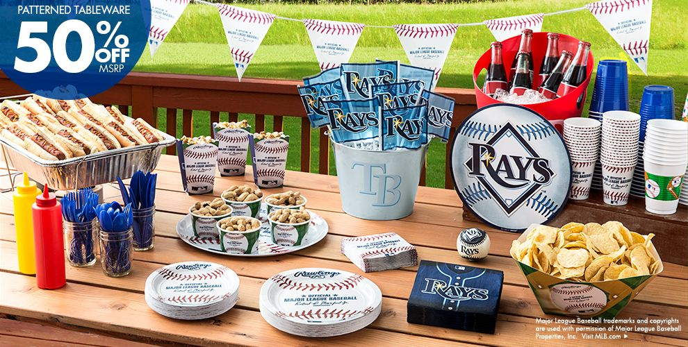 Patterned Tableware 50% off MSRP — MLB Tampa Bay Rays Party Supplies