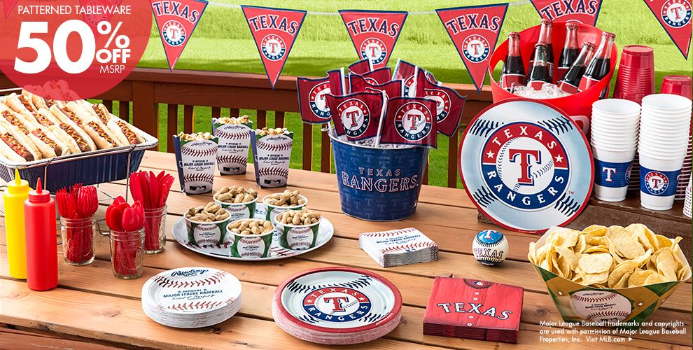 Patterned Tableware 50% off MSRP — MLB Texas Rangers Party Supplies