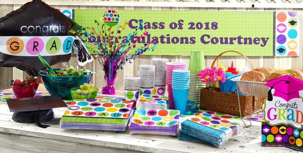 Patterned Tableware 50% off MSRP — Colorful Commencement Party Supplies